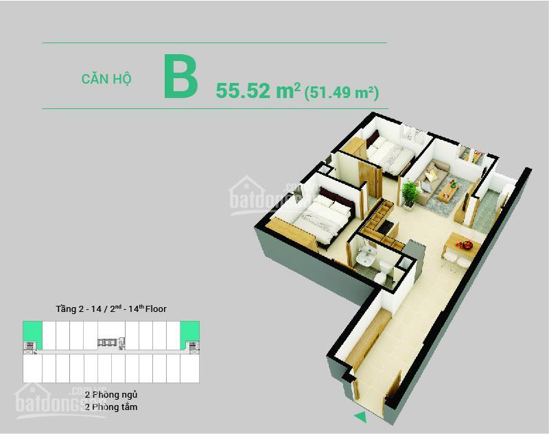 Chính chủ bán gấp căn góc DT 55.52m2, 2PN - 2WC view đông nam - LH: 0932.121.099 Thuỷ Tiên 5814189